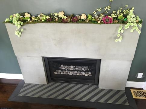surround with striped hearth and black border